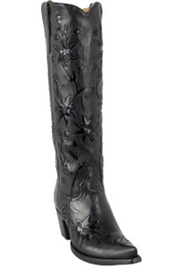 Liberty Boot Co. Women's Black 60's Cowgirl Boots - Hero