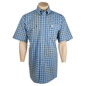 Cinch Short Sleeve Sky Blue Plaid Shirt