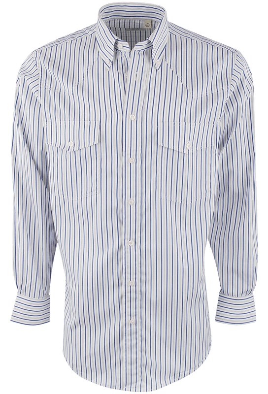 Gitman Bros. White with Gray and Blue Stripe Shirt - Front
