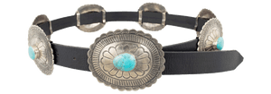 Concho Belt with Turquoise - Black