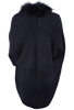Linda Richards Knitted Fur Cape - Navy - Back