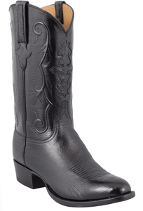 Lucchese Men's Black Smooth Ostrich Boots - Hero