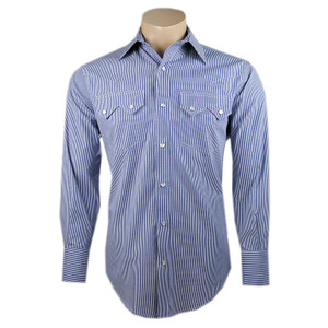 Pinto Ranch by Stubbs Blue and White Stripe Snap Shirt