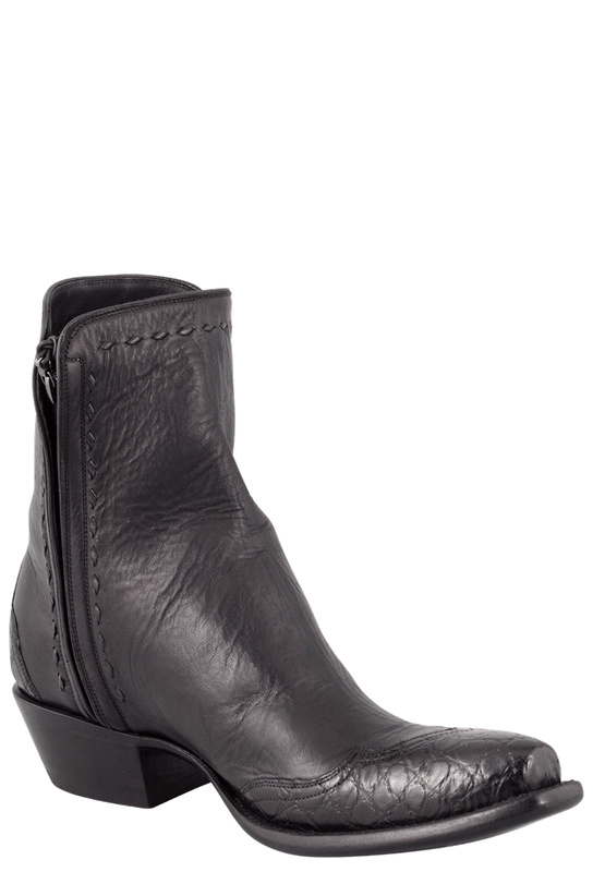 Stallion Men's Zorro Black Gator Ankle Boots - Hero