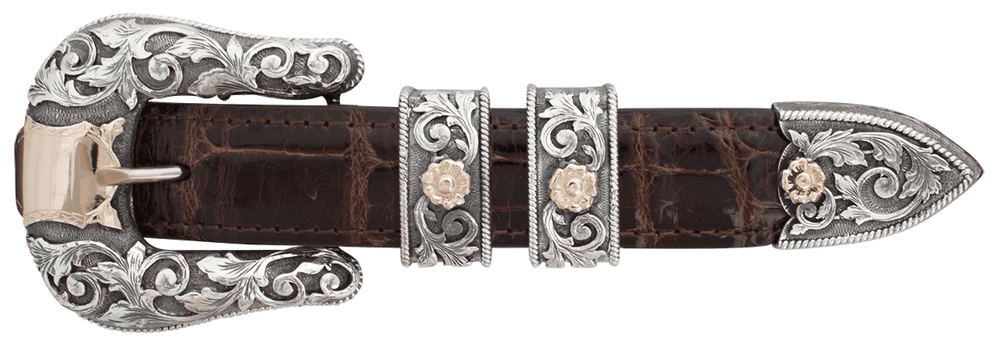 """Sunset Trails Presidio Silver and Gold Engraved 1"""" Buckle Set"""
