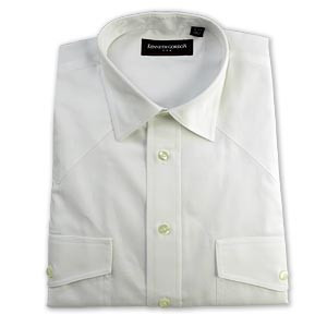 Kenneth Gordon White Straight Collar Western Dress Shirt