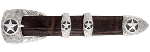 "Greg Jensen Engraved Stars 1"" Buckle Set"