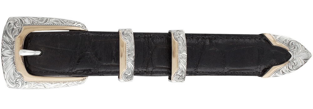 "Greg Jensen Profile Gold and Silver Engraved 1"" Buckle Set"