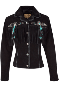 Scully Fawn Fringe Jacket - Black - Front
