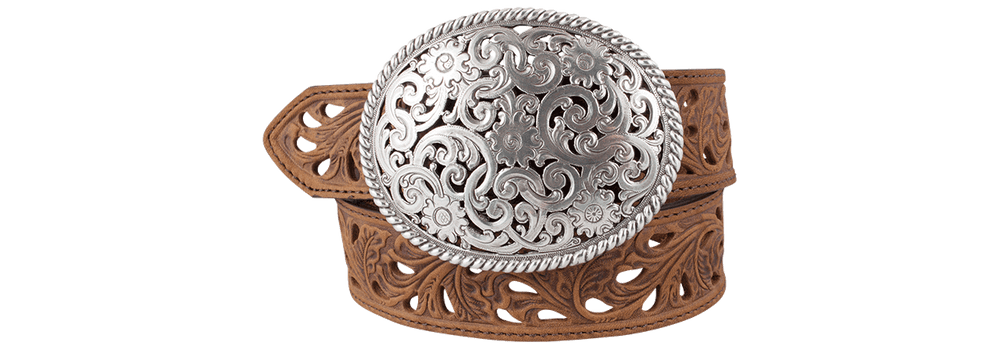 Oval Trophy Buckle Belt - Brown