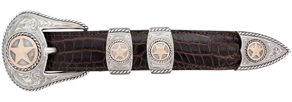 "Randall Moore Rope Star Gold and Silver Engraved 1"" Buckle Set"