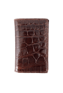 Alligator Gusseted Black Card Case - Brown - Front