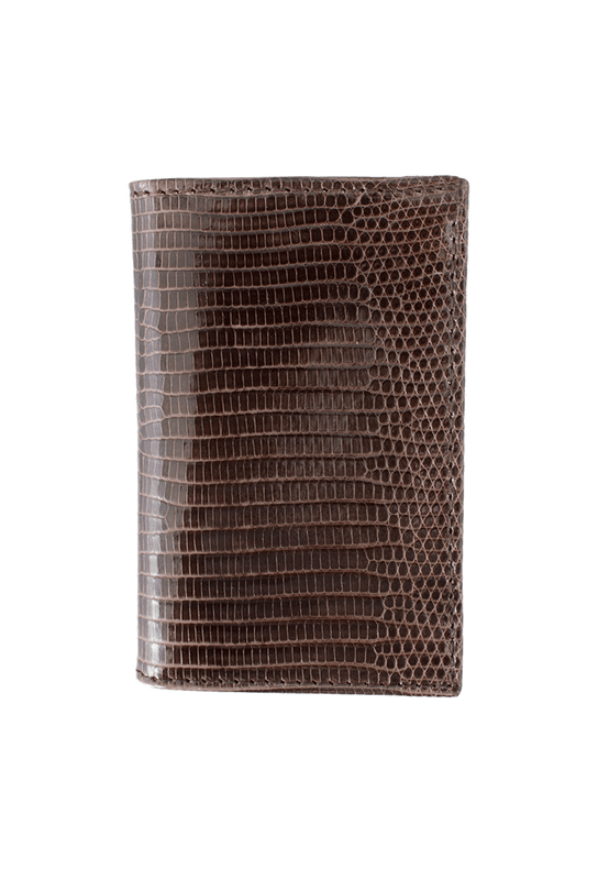 Lizard Gusseted Card Case - Brown - Front