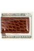American Alligator Magnetic Money Clip - Cognac - Back