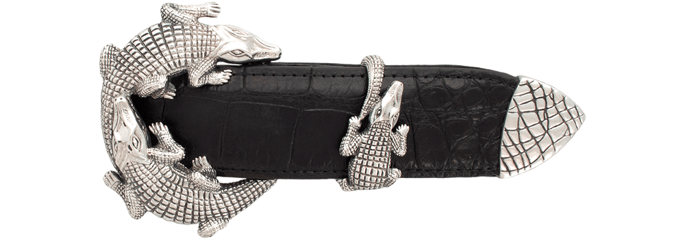 "Jeff Deegan Double Alligator 1 1/2"" Buckle Set"