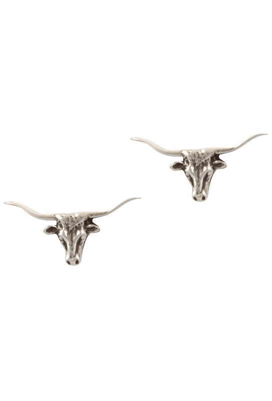 Pinto Ranch Longhorn Silver Cufflinks - Front