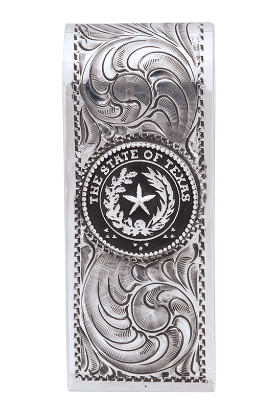 Pinto Ranch State Seal of Texas Engraved Money Clip - Front