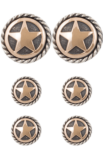 Randall Moore Gold Star Rope Edge Cufflinks and Stud Set - Front