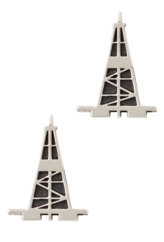 Pinto Ranch Oil Derrick Silver Cufflinks - Front
