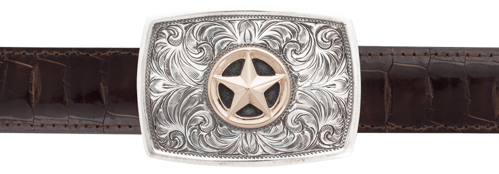 """Greg Jensen Libre with Star Gold and Silver 1 1/4"""" Trophy Buckle"""