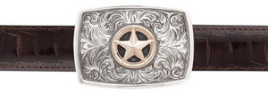 "Greg Jensen Libre with Star Gold and Silver 1 1/4"" Trophy Buckle"