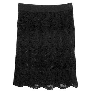 Origami Layered Lace Skirt - Black