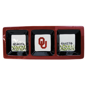 University - University of Oklahoma Three Section Serving Dish