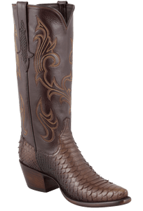 Stallion Women's Chocolate Python Boots - Hero