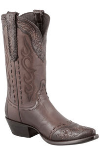 Stallion Women's Chocolate Western Tooled Boots - Hero