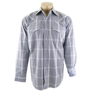 Stetson - Blue Winter Ombre Plaid Snap Shirt