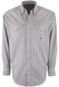 Miller Ranch Navy and Tan Plaid Snap Shirt