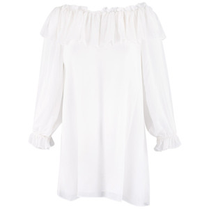 Vintage Collection Chiffon Peasant Tunic - White - Front