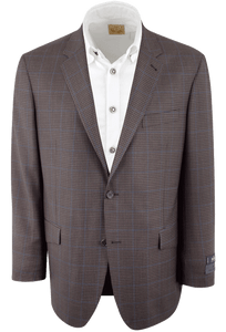 Brown and Blue Check Wool Western Sport Coat - Front