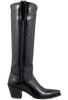 "Liberty Boot Co. Women's Black Patent Twiggy 16"" Boots - Side"
