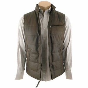Stetson Quilted Leather Vest - Brown