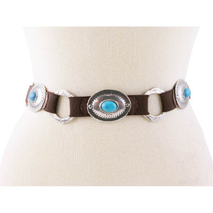 Turquoise and Silver Concho Stretch Belt