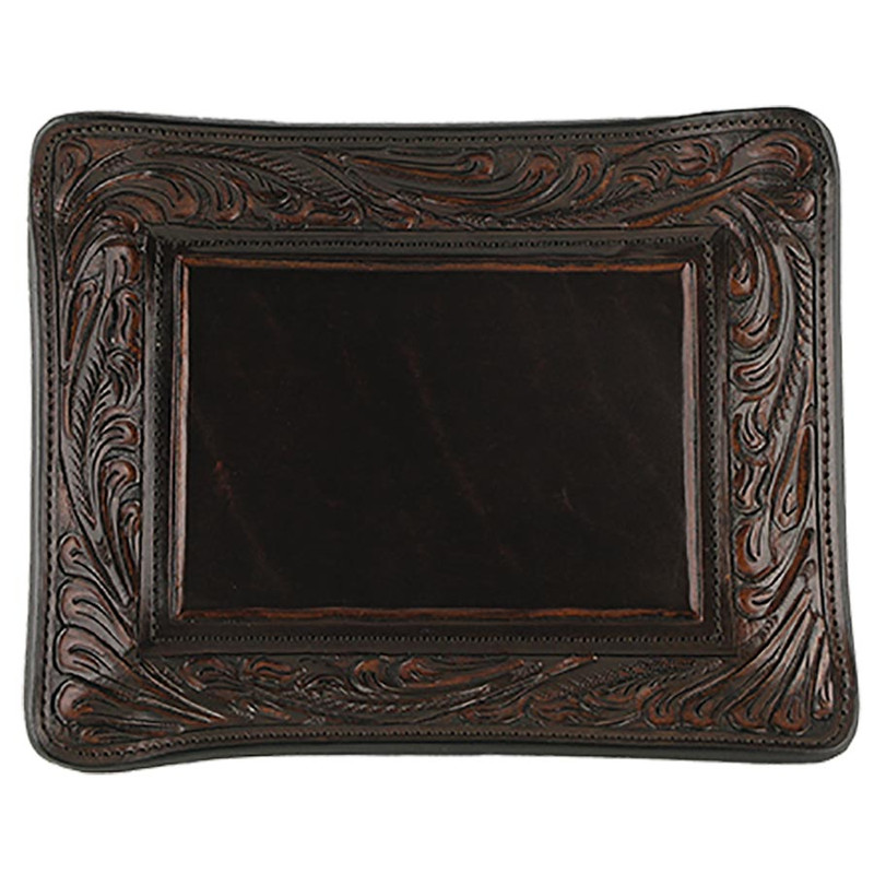 Home - Hand Tooled Leather Tray - Vintage Brown