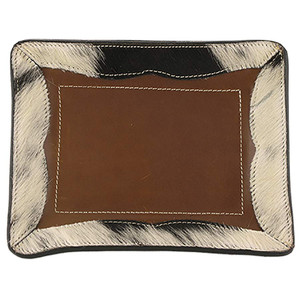 Leather and Cowhide Tray - Espresso