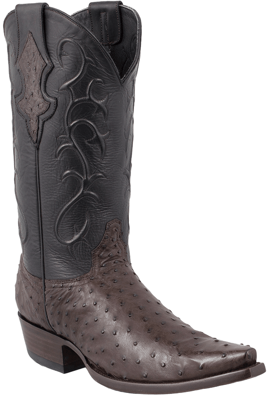 Benchmark by Old Gringo Men's Nicotine and Black Full-Quill Ostrich Tioga Boots - Hero
