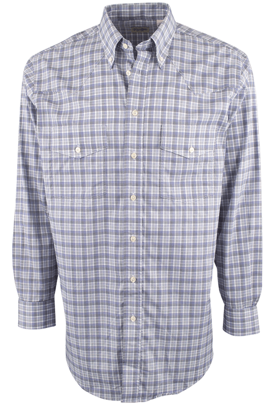 Gitman Bros. Blue and Black Plaid Shirt - Front