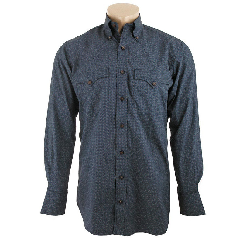 Lyle Lovett for Hamilton Navy and Taupe Print Poplin Shirt - Front