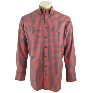 Lyle Lovett for Hamilton Red, White and Blue Check Brushed Twill Shirt - Front