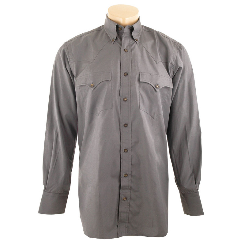 Lyle Lovett for Hamilton Gray Solid Poplin Shirt - Front