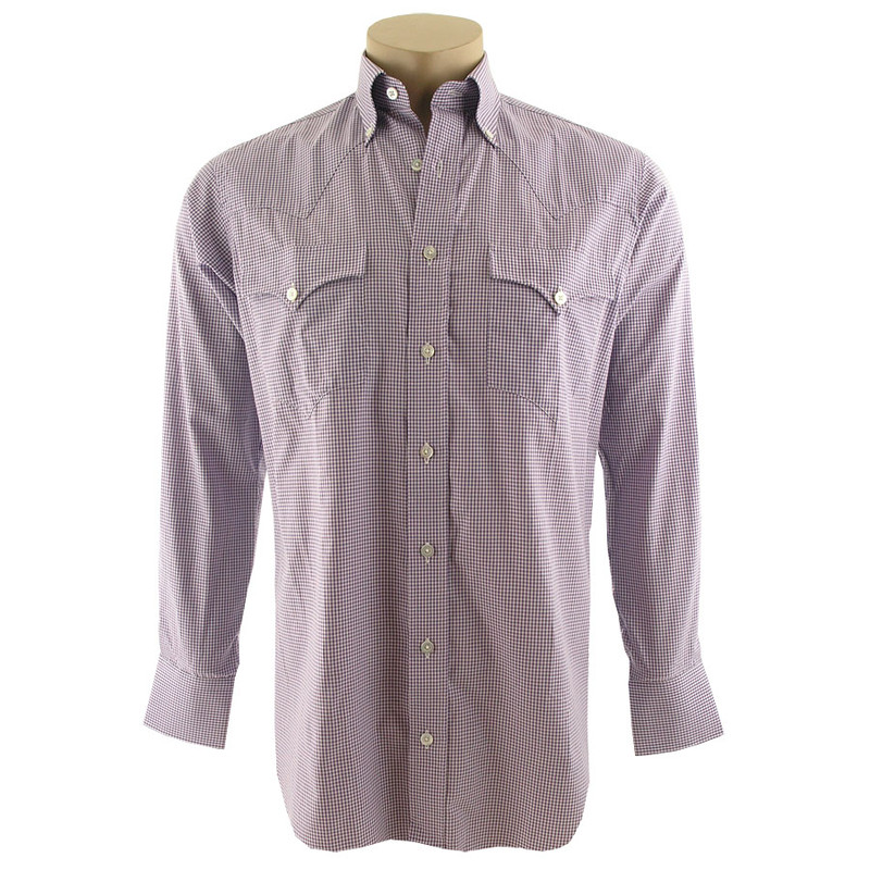 Lyle Lovett for Hamilton Purple and White Check Dobby Shirt - Front