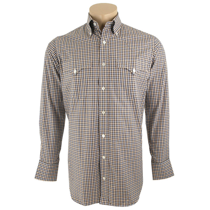 Lyle Lovett for Hamilton Brown, Orange and Blue Check Poplin Shirt - Front