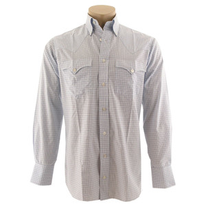 Lyle Lovett for Hamilton Blue and White Check Poplin Shirt - Front