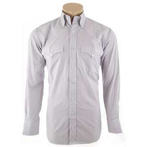 Lyle Lovett for Hamilton White, Purple and Gray Check Poplin Shirt