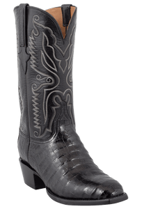 Lucchese Mens Ultra Caiman Crocodile Boots - Black with Snip Toe