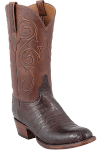 Lucchese Men's Barrel Brown Ultra Caiman Crocodile Boots - Round Toe - Hero