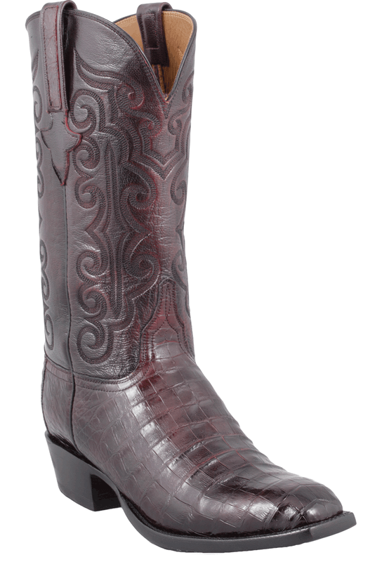 lucchese s black cherry ultra caiman crocodile boots